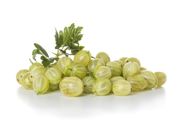 Oranic gooseberries isolated on white background