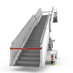 Passenger Boarding Stairs Car on white. 3D illustration