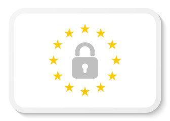 Rectangle sticker icon with the wreath of the EU and a padlock.