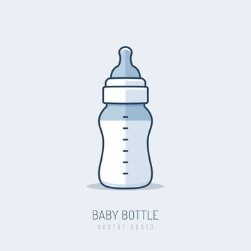Baby bottle with baby formula vector illustration in mono line art style