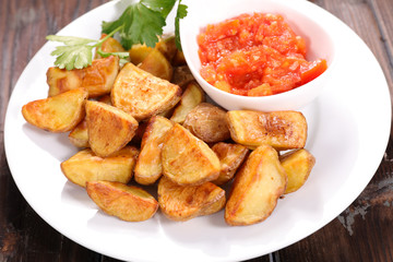 roasted potato and spicy tomato sauce