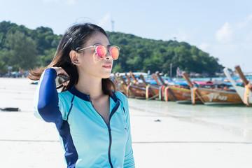 Beautiful woman on the beach. Lipe island Thailand.
