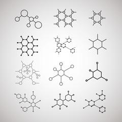 dna molecule structure set vector illustration design