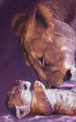 Lioness and lion cub. Digital painting.