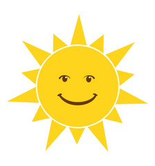 Shining smiling sun icon cartoon isolated on white background