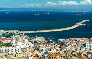 Foto op Aluminium Algerije Aerial view of the city centre of Algiers in Algeria
