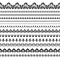 Indian style seamless borders vector set.