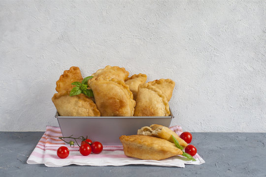 Panzerotti - a savory fried  turnover traditional for Southern Italy, but also look like turnovers of different others countries. Homemade.