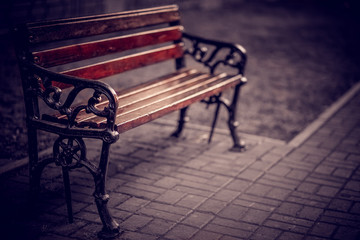 bench in the park on a tiled alley