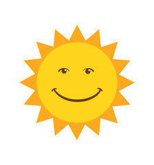 Smiling Sun icon vector illustration isolated on white