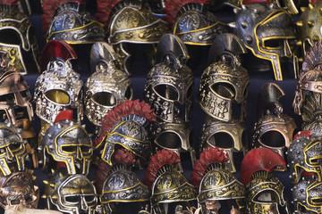Gladiator metal helmets. Roman and Greek warrior