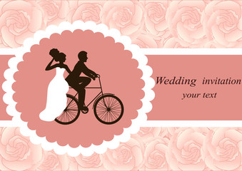 Invitation card with the bride and groom on a floral background.