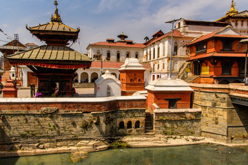 Pashupatinath Temple, a famous, sacred Hindu temple, Bagmati River, Kathmandu, capital of Nepal. UNESCO World Heritage Sites'