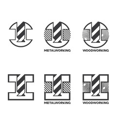 "illustration consisting of several images of milling cutters for wood and metal and the inscription ""woodworking"" and ""metalworking"" in the form of a symbol or logo"