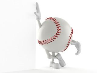 Baseball character lean on wall