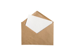 Kraft paper envelope with white blank card