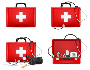 medical first aid box case kit stock vector illustration