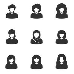 Avatars of women, monochrome icons set. simple symbols collection