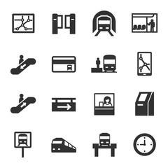 metro, monochrome icons set. subway rapid transit system, simple symbols collection