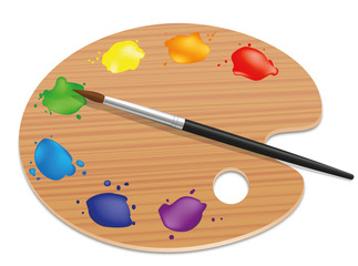 Artists palette. Painting wood board with different colors and a paintbrush. Isolated vector illustration on white background.