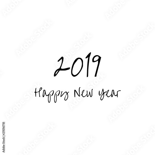 happy new year 2019 greeting card words happy new year isolated on white background for