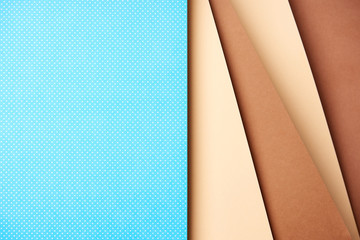 Abstract background with paper sheets in blue and brown tones