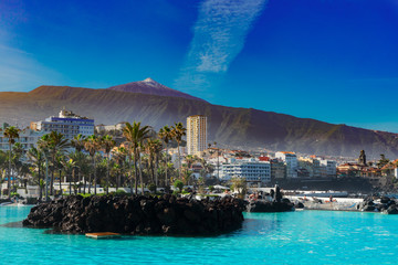 skyline of Puerto Cruz, Tenerife, Spain