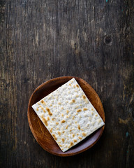 Traditional Jewish kosher homemade matzah or matzo, unleavened b