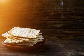 Traditional Jewish kosher homemade matzah or matzo, unleavened b