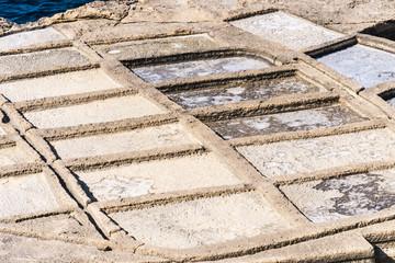 Ancient salt pans in Marsalforn, Gozo, Malta.