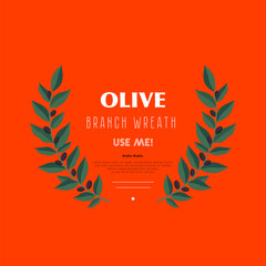 Decorative wreath olive branch. For labels, packaging, posters, festivals.