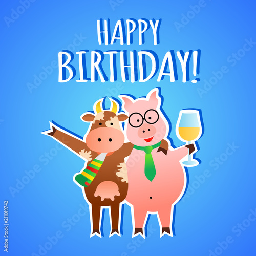 Funny Vector Birthday Greeting Card With Animals Stock Image And