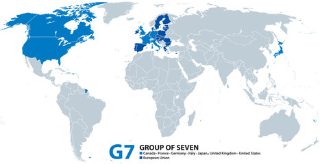 G7, Group of Seven, infographic and map. Worlds largest advanced economies. Canada, France, Germany, Italy, Japan, United Kingdom and United States. Also represented by the European Union. Vector.