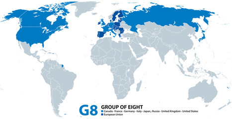G8, Group of Eight, infographic and map. Reformatted as G7 after suspending Russia. Canada, France, Germany, Italy, Japan, United Kingdom, United States. Also represented by the European Union. Vector