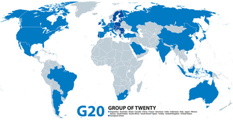 G20, Group of Twenty, infographic and map. Forum to discuss the promotion of international financial stability. Twenty individual countries and the not individually represented European Union. Vector.