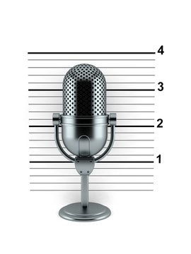 Radio microphone with mugshot