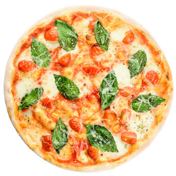 Delicious homemade Italian pizza with cheese, tomatoes and basil