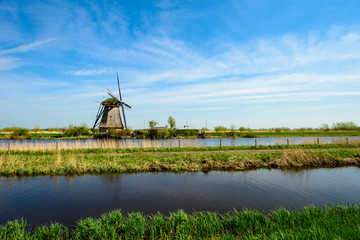 The Netherlands rural landscape with famous windmill in Kinderdi