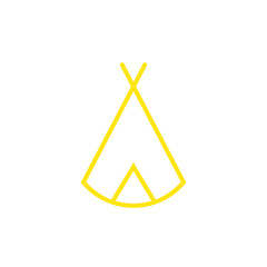 Zelt, Tipi - Piktogramm - gelb