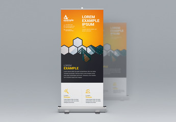Business Banner Layout with Orange Accents