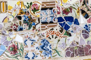 Detail of decorative tile-shard mosaic