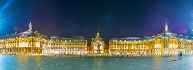 Night view of Place de la Bourse in Bordeaux, France