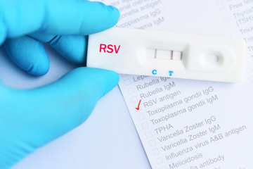 RSV positive test result by using rapid test cassette, diagnosis for respiratory disease