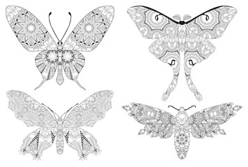Zentangle stylized set of butterflies. Hand Drawn lace vector illustration