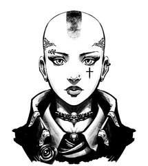 Bald girl skinhead in jacket