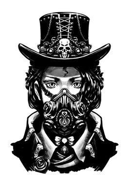 girl dressed in steampunk style