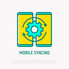 Mobile syncing thin line icon. Modern vector illustration.