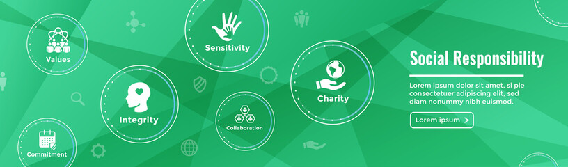Social Responsibility Web Banner Icon Set and Web Header Banner w Honesty, integrity, & collaboration, etc