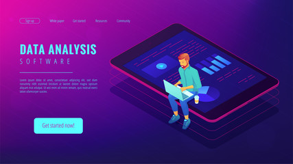 Isometric big data analysis concept. A business analyst with laptop and visual data analysis statistics pie charts and graphics on the tablets screen in violet color. Vector ultraviolet background.