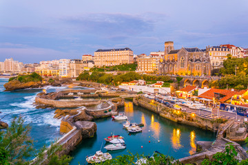 Sunset view of marina in Biarritz, France Fototapete